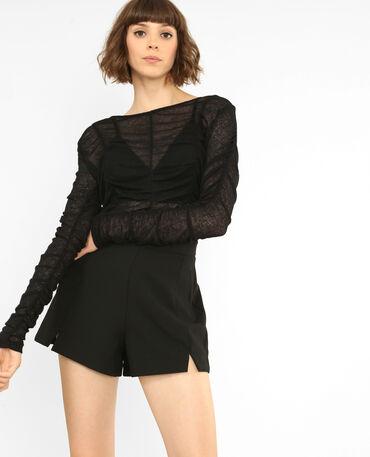 T-shirt froncé noir