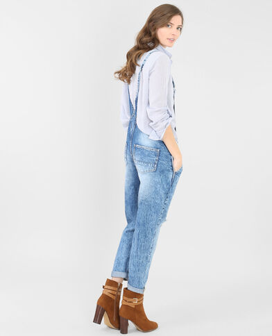 Salopette en jean bleu denim