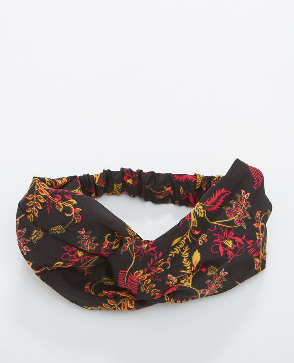 Fleurige headband zwart
