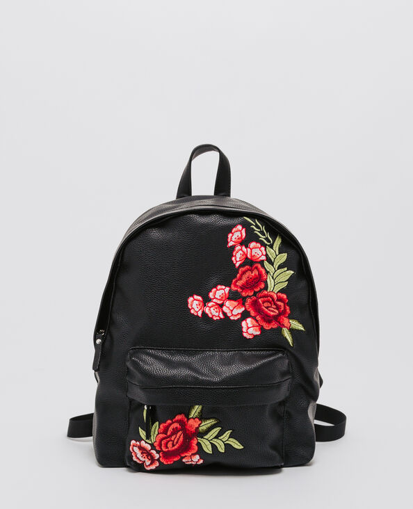 Rucksack aus Kunstleder mit Stickerei Schwarz