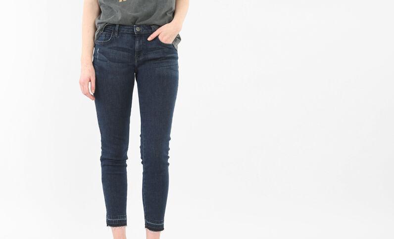 Jeans skinny 7/8 a vita alta con base scucita blu