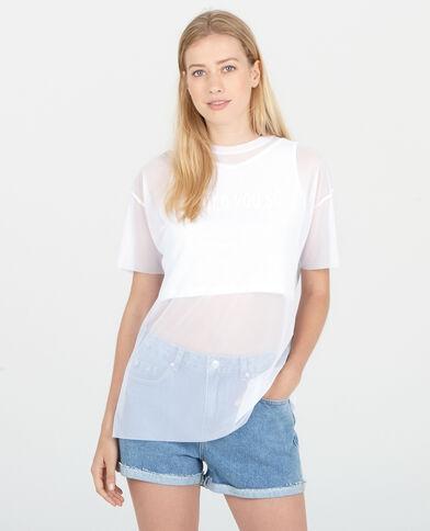 Camiseta de rejilla 2 en 1 blanco