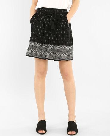 Falda de crespón cinturón pompones negro