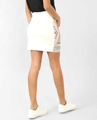 Minifalda bordada crudo