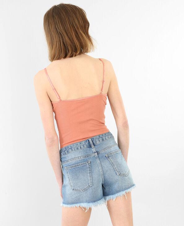 Homewear body met ribbels roze