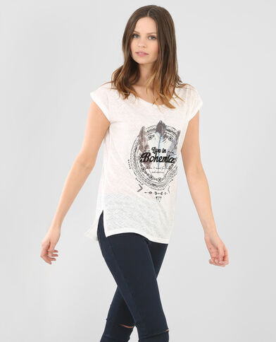 Camiseta estampada marfil