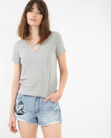 T-Shirt mit gekreuztem Halsausschnitt Grau meliert