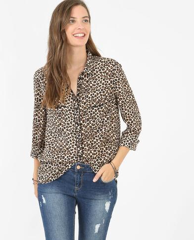 Camisa de leopardo pardo