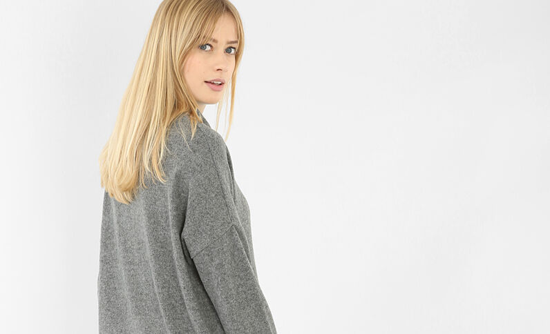 Sweat col montant gris