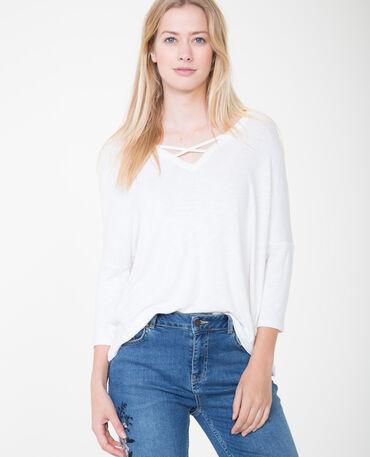 T-shirt à col croisé blanc cassé