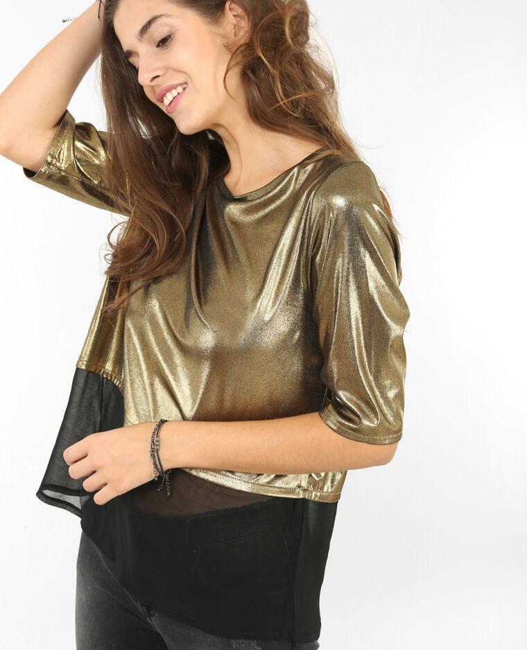 Camiseta metalizada dorado