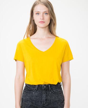 T-shirt à col V jaune moutarde