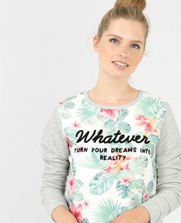 Sweatshirt aus Materialmix im Tropical Style Grau meliert
