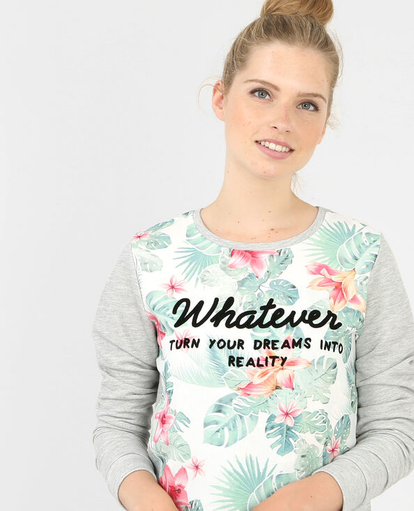 Sweatshirt aus Materialmix im Tropical Style Grau