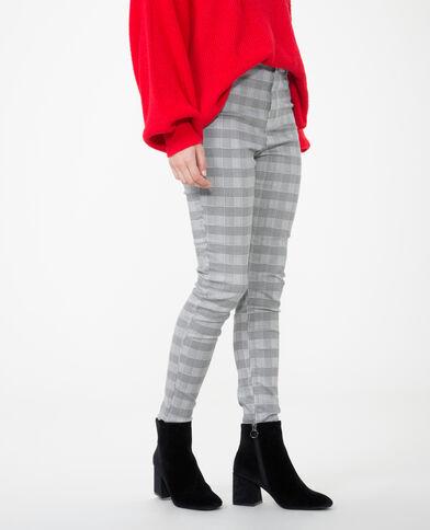 Skinny broek met Prince-de-Galles-print grijs