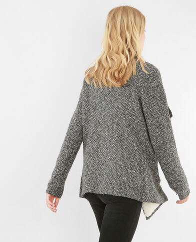 Cardigan maglia con lembi grigio