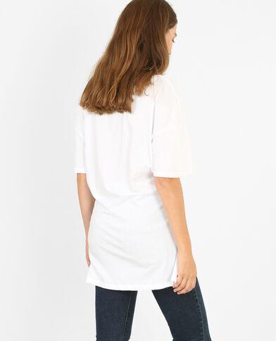 Lang T-shirt met strik ecru