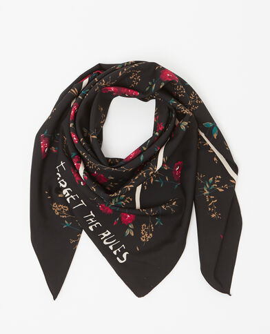 Foulard fleuri noir