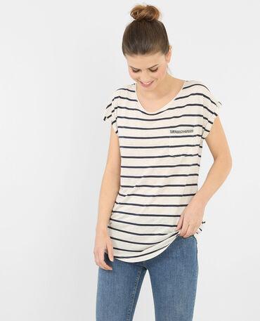 Camiseta a rayas con estrás marfil