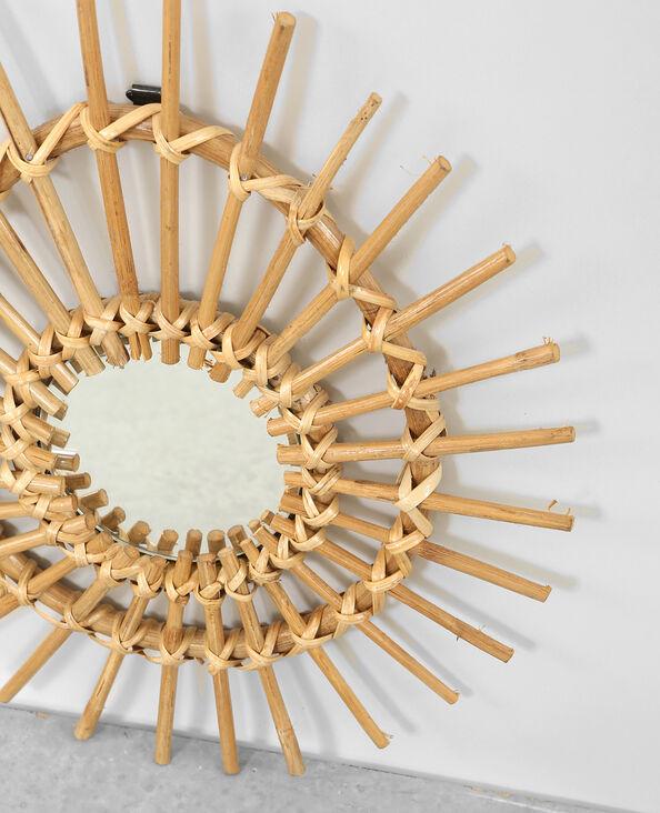 Asymmetrisch spiegeltje van rotan taupebeige