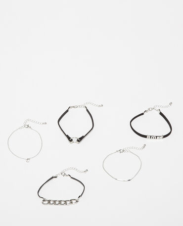 Lot de 5 bracelets gris argenté