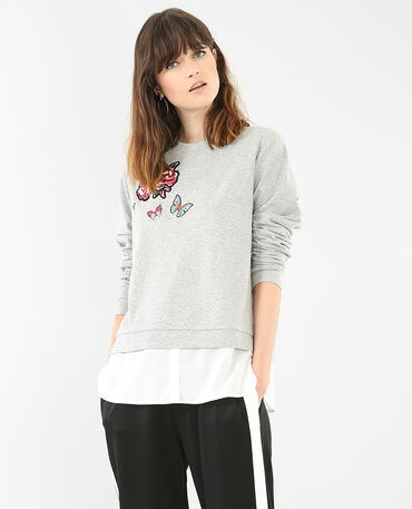 Sweat brodé bas chemise gris chiné