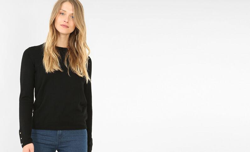 Pullover mit Druckknopfbündchen Schwarz