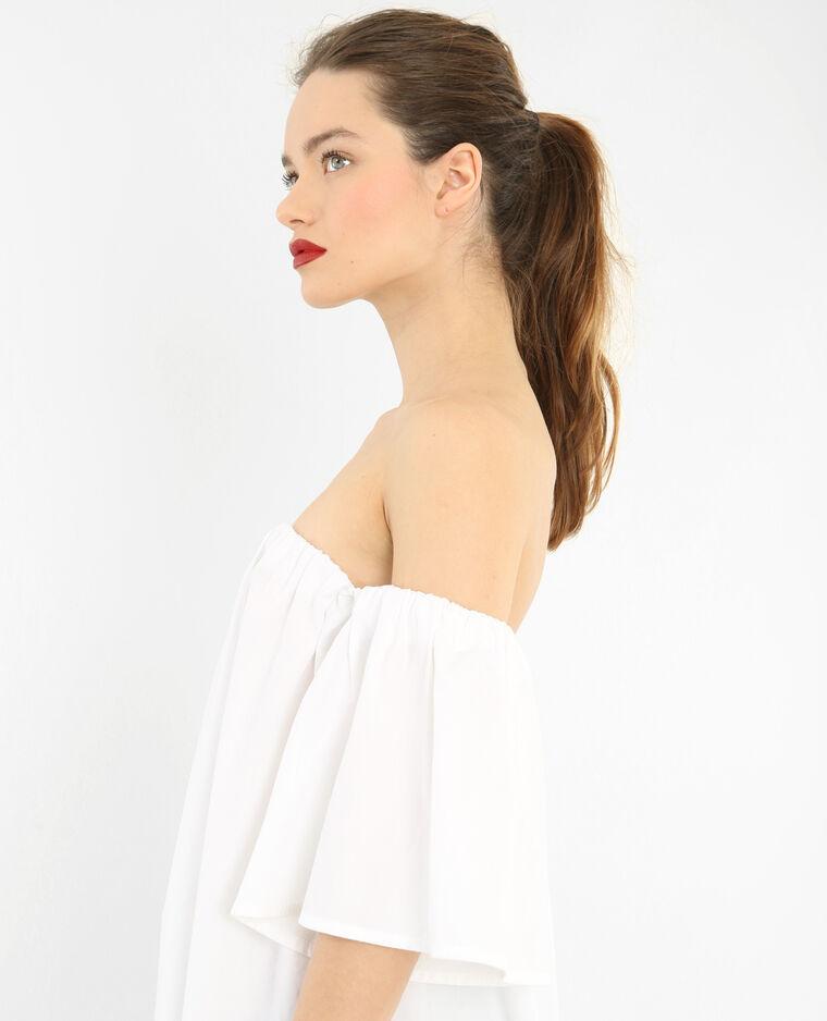 Popeline-Kleid Naturweiß