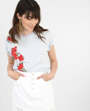 T-shirt ricamo floreale blu cielo