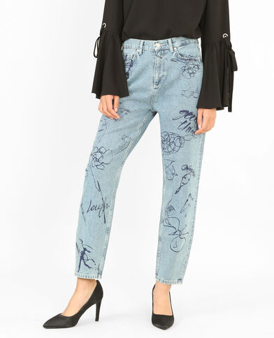Mom-Jeans mit Aufdruck Denimblau