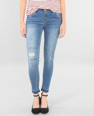 Skinny-Jeans mit Destroyed-Effekt und Schriftzug Denimblau
