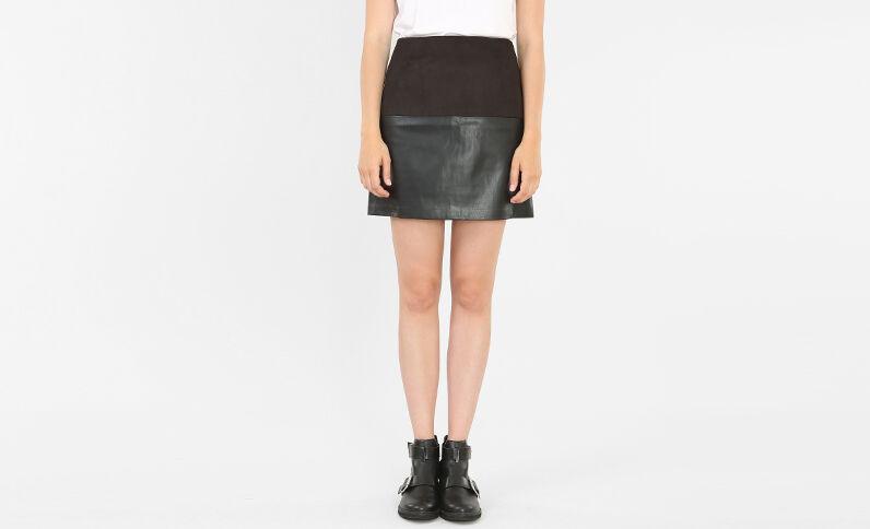Jupe courte bimatière noir
