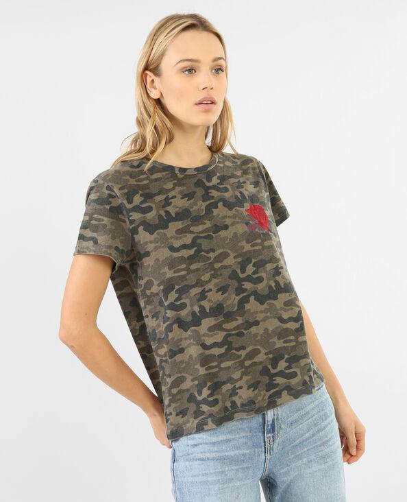 T-shirt army délavé ricamo rosa verde