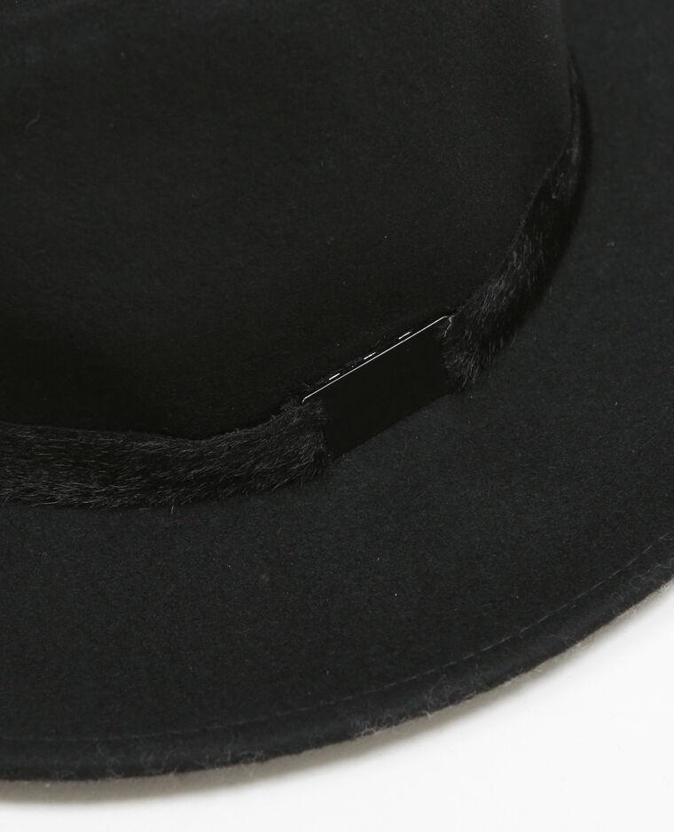 Chapeau fedora galon fourrure noir