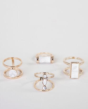 Lote de anillos efecto mármol dorado