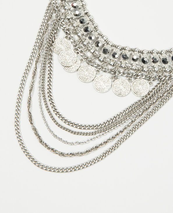 Plastron-Halskette mit kleinen Münzen Silberig