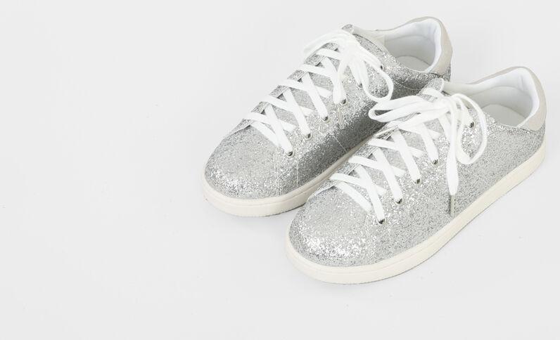 Baskets glitters gris argenté