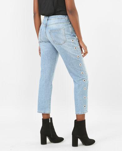 Jeans girlfriend con ojales azul vaquero