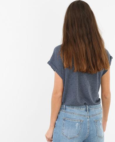T-shirt poche bijou Bleu