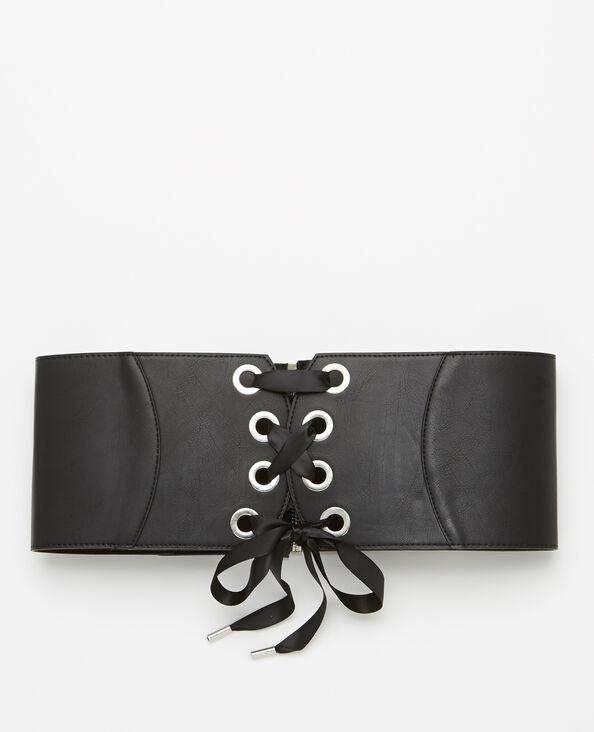 Ceinture corset en simili cuir noir
