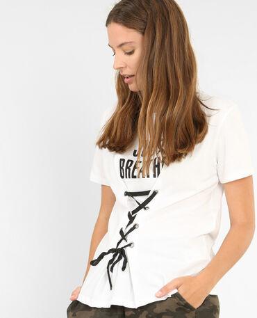 T-Shirt mit Schnürung Naturweiß