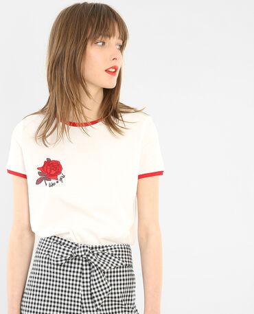 Camiseta con bordados marfil