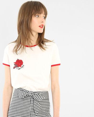 Besticktes T-Shirt Altweiß