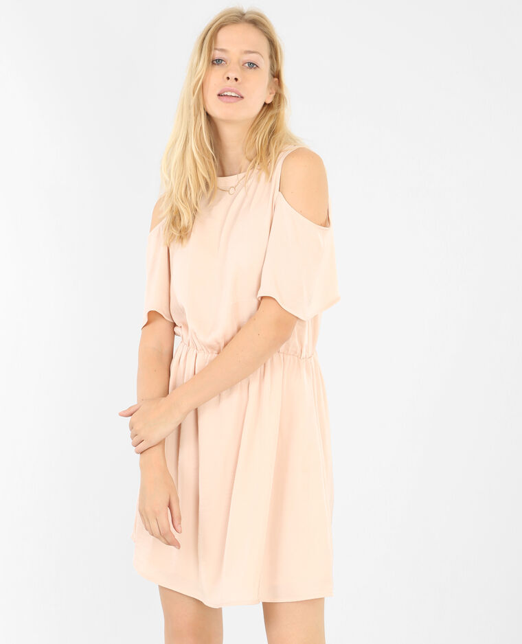 Robe fluide manches peekaboo vieux rose