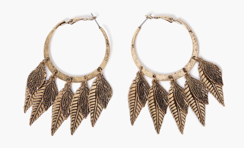 Boucles d'oreilles pendantes feuilles doré