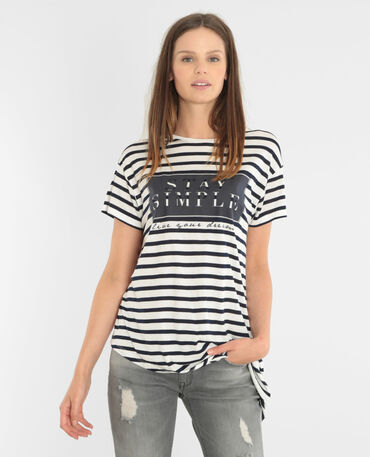 Camiseta a rayas asimétrica blanco