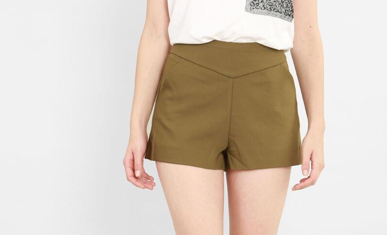 Shorts de talle alto caqui