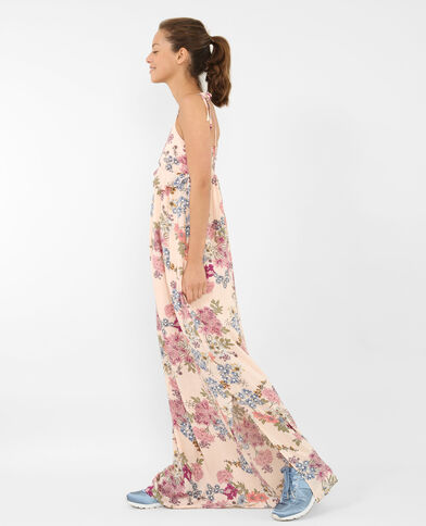 Robe longue fleurie rose pâle