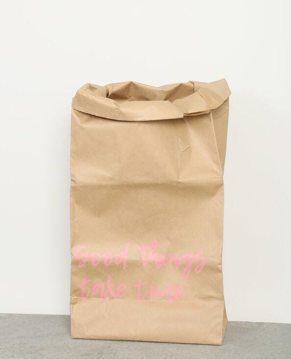 Große Papiertasche mit Message Braun