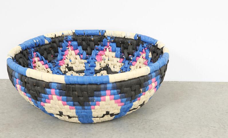Panier en corde multicolore noir